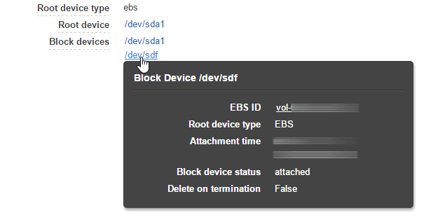 An EBS volume attached to an EC2 instance