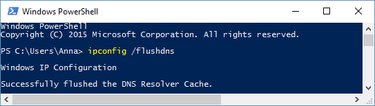 Flushing the DNS Resolver Cache on Windows 10: ipconfig /flushdns
